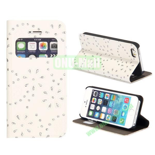 Diamond Flower Pattern Flip Stand Leather Case with Caller ID Display Window for iPhone 5S  5 (White)