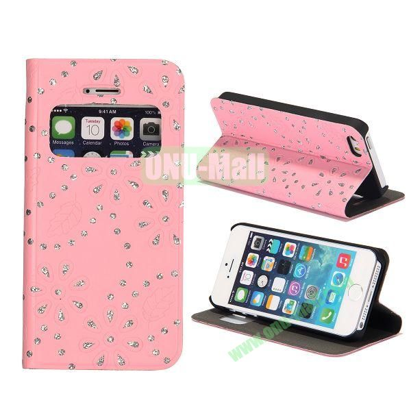 Diamond Flower Pattern Flip Stand Leather Case with Caller ID Display Window for iPhone 5S  5 (Pink)