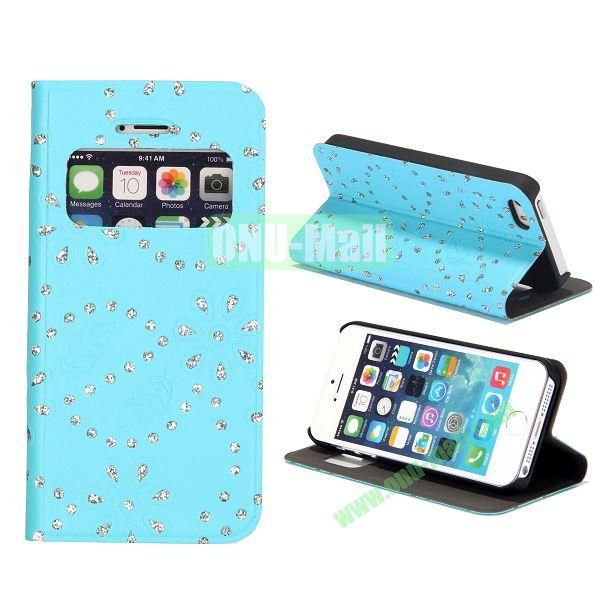 Diamond Flower Pattern Flip Stand Leather Case with Caller ID Display Window for iPhone 5S  5 (Light Blue)