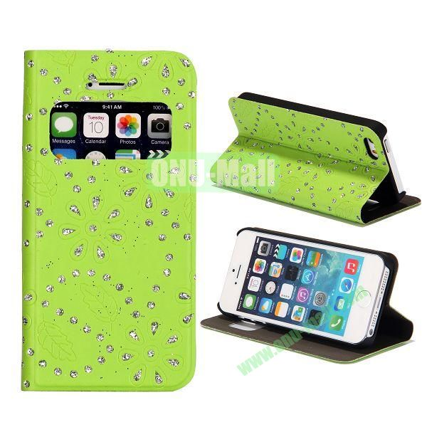 Diamond Flower Pattern Flip Stand Leather Case with Caller ID Display Window for iPhone 5S  5 (Green)