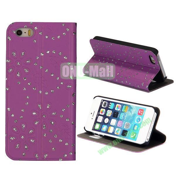 Diamond Flower Pattern Flip Stand Leather Case with Caller ID Display Window for iPhone 5S  5 (Purple)