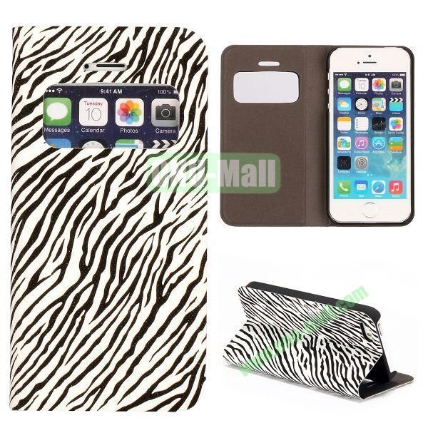 Shimmering Powder Zebra Pattern Flip Leather Case with Card Solt and Caller ID Display Window  for iPhone 55S (White)