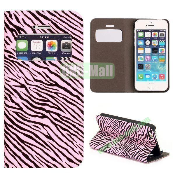 Shimmering Powder Zebra Pattern Flip Leather Case with Card Solt and Caller ID Display Window  for iPhone 55S (Pink)