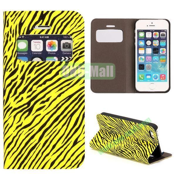 Shimmering Powder Zebra Pattern Flip Leather Case with Card Solt and Caller ID Display Window  for iPhone 55S (Yellow)