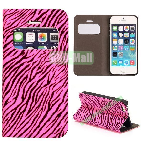 Shimmering Powder Zebra Pattern Flip Leather Case with Card Solt and Caller ID Display Window  for iPhone 55S (Rose)