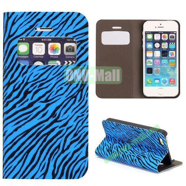 Shimmering Powder Zebra Pattern Flip Leather Case with Card Solt and Caller ID Display Window  for iPhone 55S (Blue)