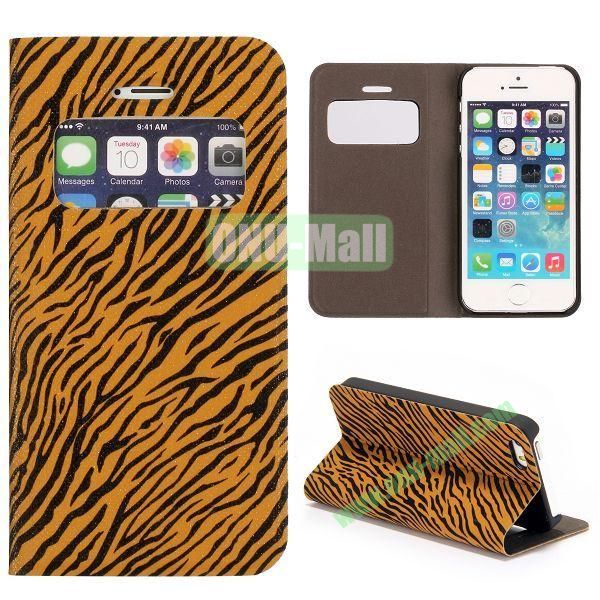 Shimmering Powder Zebra Pattern Flip Leather Case with Card Solt and Caller ID Display Window  for iPhone 55S (Brown)