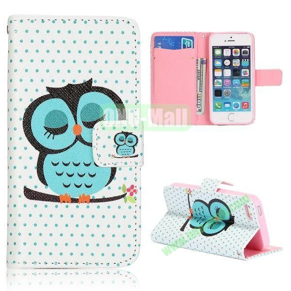 Cartoon Owl Pattern Flip Stand Leather Case for iPhone 5S  5 with Card Slots