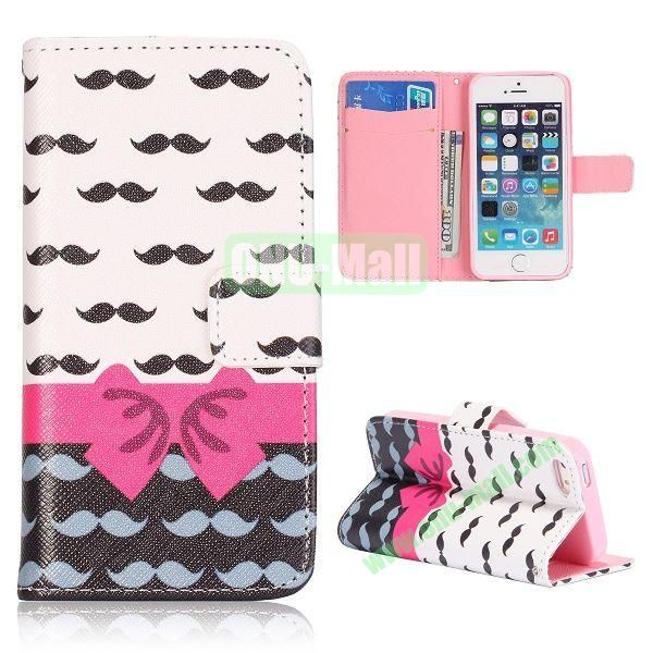Bowknot and Moustache Pattern Flip Stand Leather Case for iPhone 5S  5 with Card Slots