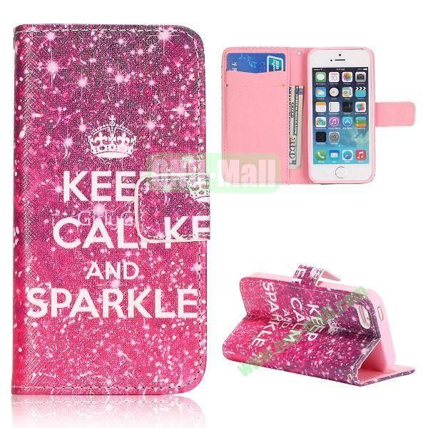 Keep Calm and Sparkle Pattern Flip Stand Leather Case for iPhone 5S  5 with Card Slots