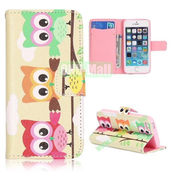Cartoon Three Owl Pattern Flip Stand Leather Case for iPhone 5S  5 with Card Slots