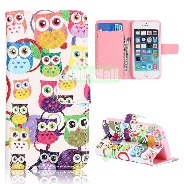 Cute Owls Pattern Flip Stand Leather Case for iPhone 5S  5 with Card Slots