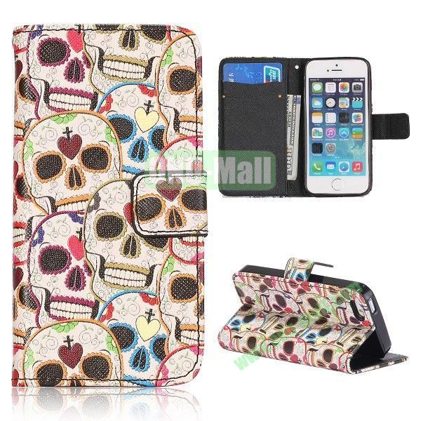Skull Pattern Flip Stand Leather Case for iPhone 5S  5 with Card Slots