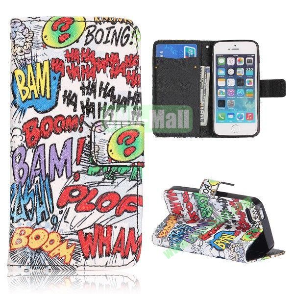 Graffiti English Letters Pattern Flip Stand Leather Case for iPhone 5S  5 with Card Slots