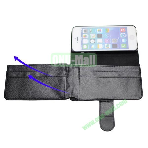 Litchee Texture Foldable Wallet Card Slots Leather Case Cover for iPhone 5  5S (Black)