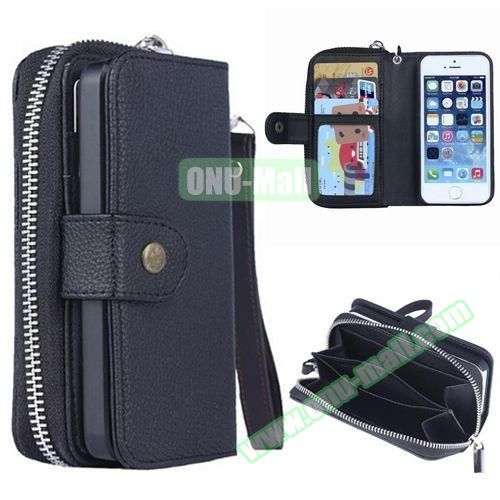 Creative Detachable Wallet Leather Case for iPhone 5 / 5S (Black)