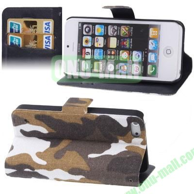 Camouflage Style Leather Case for iPhone 5  5S with Credit Card Slots & Holder