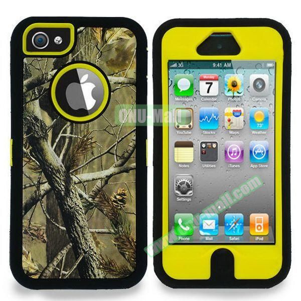 Robot Series 3 in 1 Pattern Belt Clip Leather Coated Silicone and PC Case for iPhone 5S (Tree Branch Yellow)