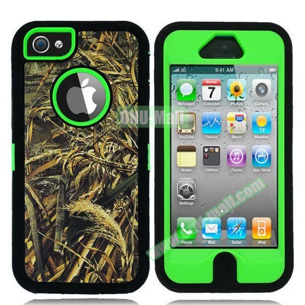Robot Series 3 in 1 Pattern Belt Clip Leather Coated Silicone and PC Case for iPhone 5S (Withered Leaves Green)