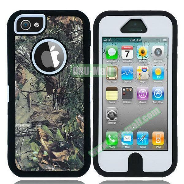 Robot Series 3 in 1 Pattern Belt Clip Leather Coated Silicone and PC Case for iPhone 5S (Withered Tree and Leaves White)