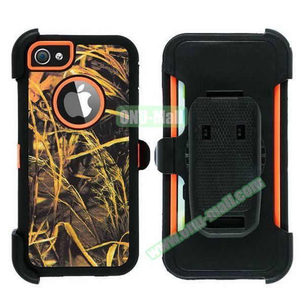 Robot Series 3 in 1 Pattern Belt Clip Leather Coated Silicone and PC Case for iPhone 5S (Withered Leaves Orange)