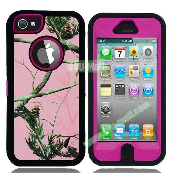 Robot Series 3 in 1 Pattern Belt Clip Leather Coated Silicone and PC Case for iPhone 5S (Tree Branch Rose)