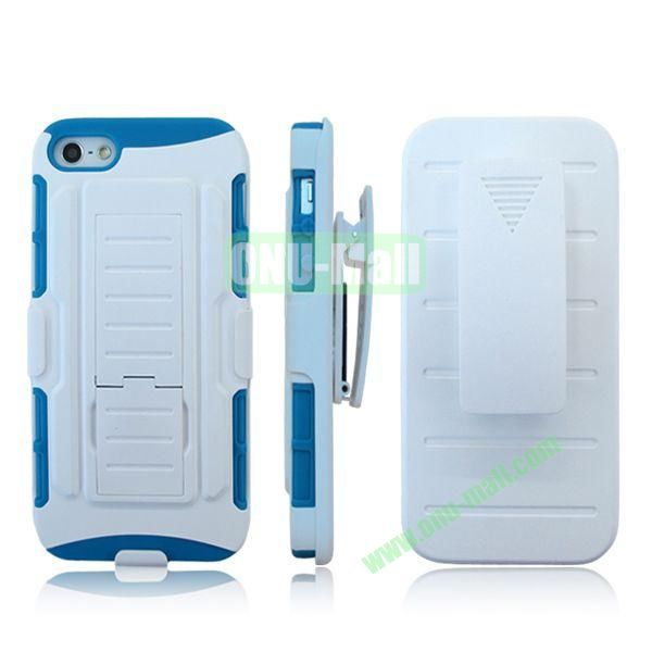 New Arrival Hot Sale Snap-on Rubber Belt Clip Holster Backup Case for iPhone 5S5 (White+Blue)
