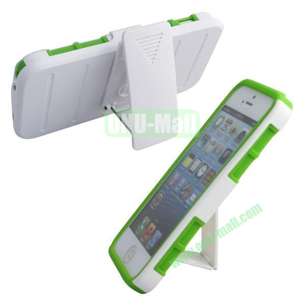 New Arrival Hot Sale Snap-on Rubber Belt Clip Holster Backup Case for iPhone 5S5 (White+Green)