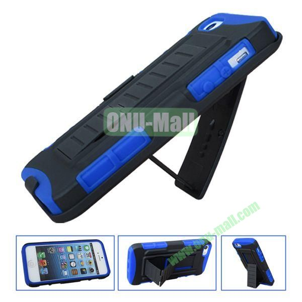 New Arrival Hot Sale Snap-on Rubber Belt Clip Holster Backup Case for iPhone 5S5 (Black+Purple)