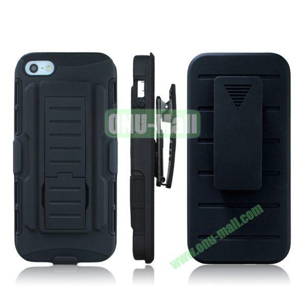 New Arrival Hot Sale Snap-on Rubber Belt Clip Holster Backup Case for iPhone 5S5 (Black)