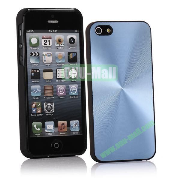 Ultrathin Aluminum Pattern and Oil Hand Felling Back Cover Case for iPhone 55S (Light blue)