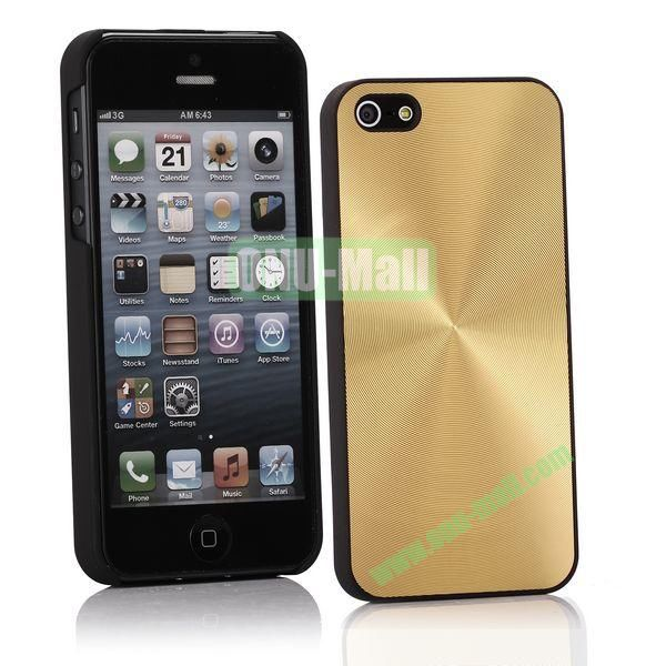 Ultrathin Aluminum Pattern and Oil Hand Felling Back Cover Case for iPhone 55S (Gold)