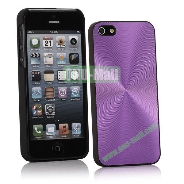 Ultrathin Aluminum Pattern and Oil Hand Felling Back Cover Case for iPhone 55S (Purple)