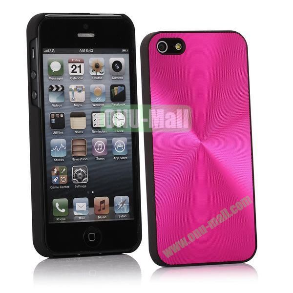 Ultrathin Aluminum Pattern and Oil Hand Felling Back Cover Case for iPhone 55S (Rose)