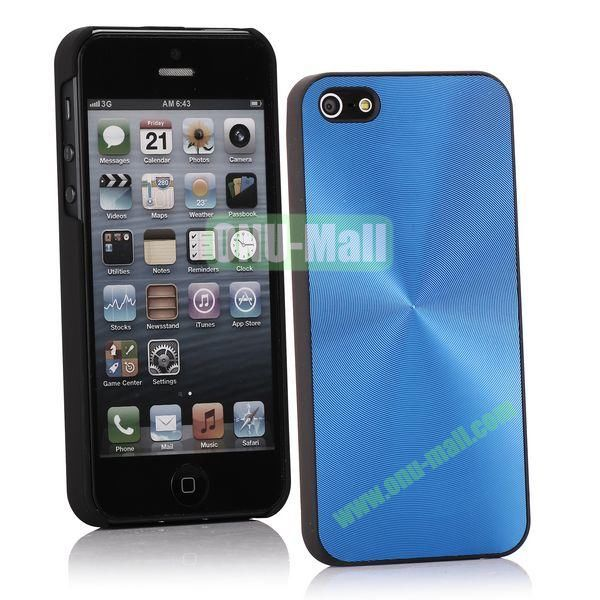 Ultrathin Aluminum Pattern and Oil Hand Felling Back Cover Case for iPhone 55S (Blue)
