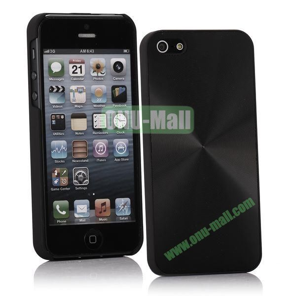 Ultrathin Aluminum Pattern and Oil Hand Felling Back Cover Case for iPhone 55S (Black)