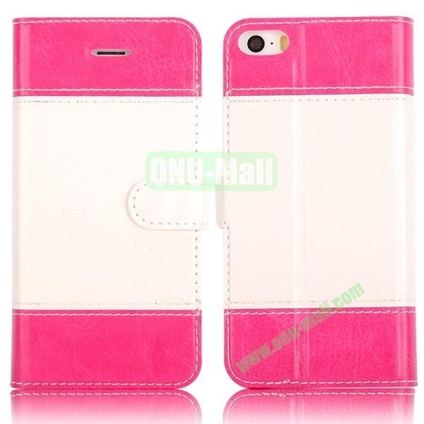 New Arrived Dual-color Wallet Leather Case Cover for iPhone 5 5S (Rose)