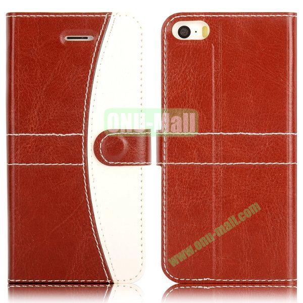 Double Color Wallet Leather Case for iPhone 5 5S (Brown+White)