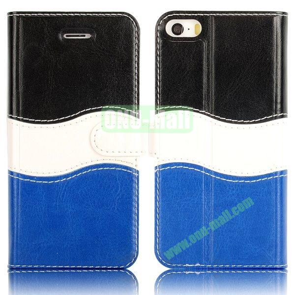 Waves Shape Multi-color Wallet Leather Case Cover for iPhone 5 5S with Card Slot (Black+white+blue)