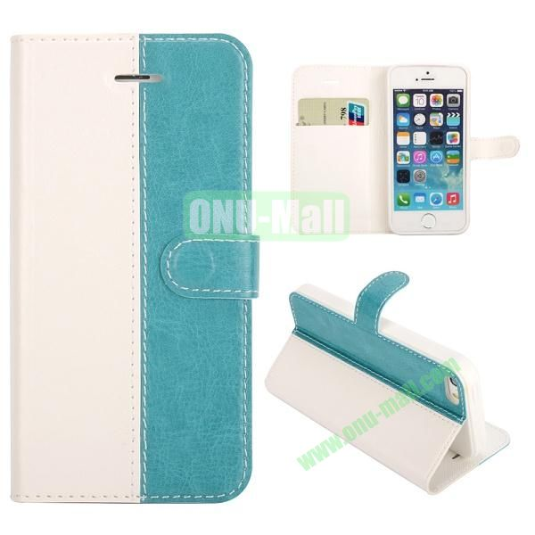 Dual-color Wallet Leather Case for iPhone 5 5S With Card Slot(Light Green)