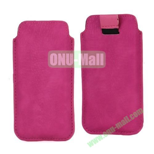 Fashion Sleeve Pouch Universal Bag Soft Leather Case with Pull Tab for iPhone 5S 5C 5 (Rose)