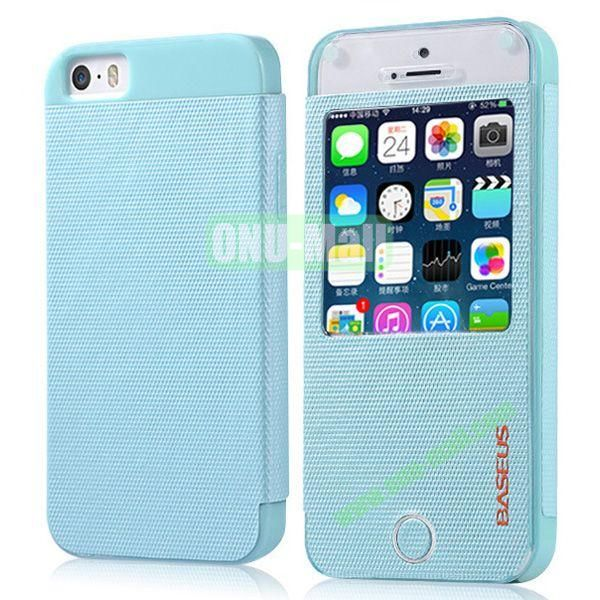 BASEUS Fashion Leather Case with Caller ID for iPhone 5S5 (Blue)