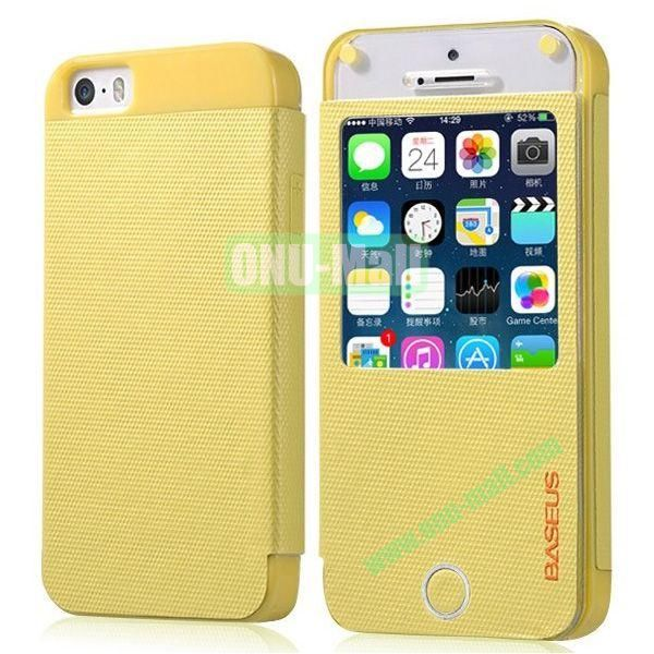 BASEUS Fashion Leather Case with Caller ID for iPhone 5S5 (Yellow)