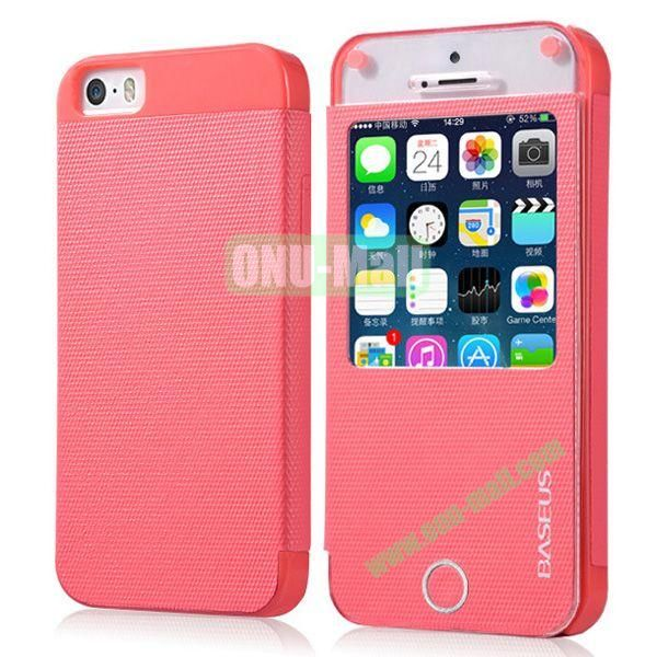 BASEUS Fashion Leather Case with Caller ID for iPhone 5S5 (Pink)