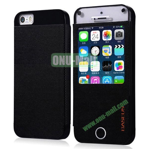 BASEUS Fashion Leather Case with Caller ID for iPhone 5S5 (Black)