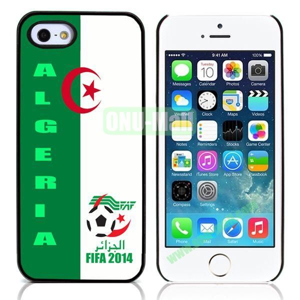 2014 FIFA World Cup Pattern Design Aluminum Coated PC Hard Case for iPhone 55S (Algeria Flag)