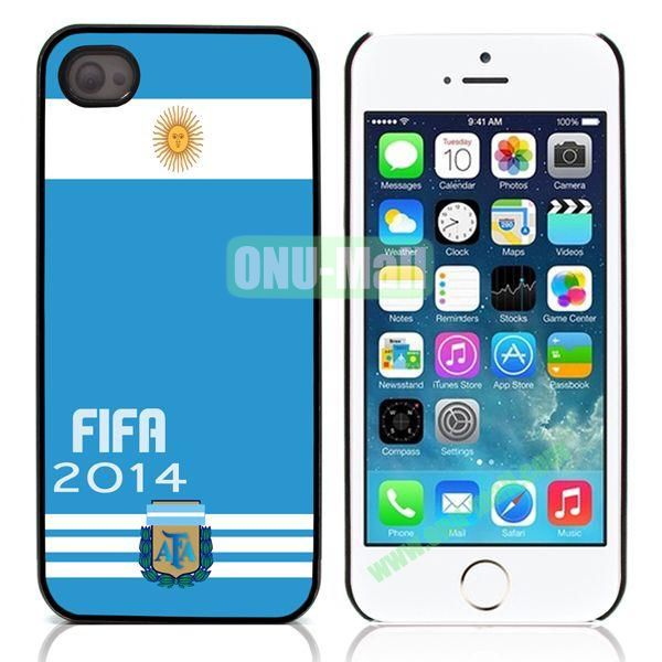 2014 FIFA World Cup Pattern Design Aluminum Coated PC Hard Case for iPhone 55S (Argentina Flag)