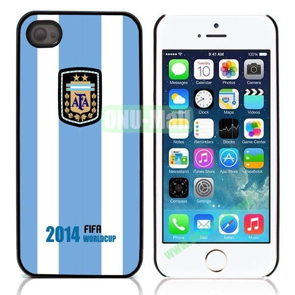 Argentina 2014 FIFA World Cup Flap Pattern Design Aluminum Coated PC Hard Case for iPhone 55S