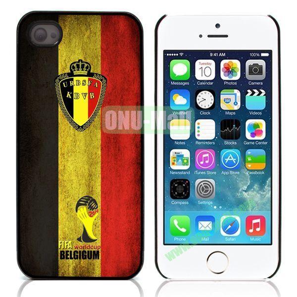 2014 FIFA World Cup Pattern Design Aluminum Coated PC Hard Case for iPhone 55S (Belgium Flag)