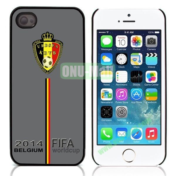 2014 FIFA World Cup Pattern Design Aluminum Coated PC Hard Case for iPhone 55S (Belgium Flag)